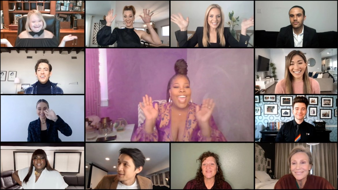 UNSPECIFIED - APRIL 08: In this screengrab released on April 8, (Clockwise from top left) Lauren Potter, Heather Morris, Jessalyn Gilsig, Jacob Artist, Jenna Ushkowitz, Chris Colfer, Jane Lynch, Dot-Marie Jones, Harry Shum Jr., Alex Newell, Becca Tobin, Kevin McHale, and Amber Riley (C) from