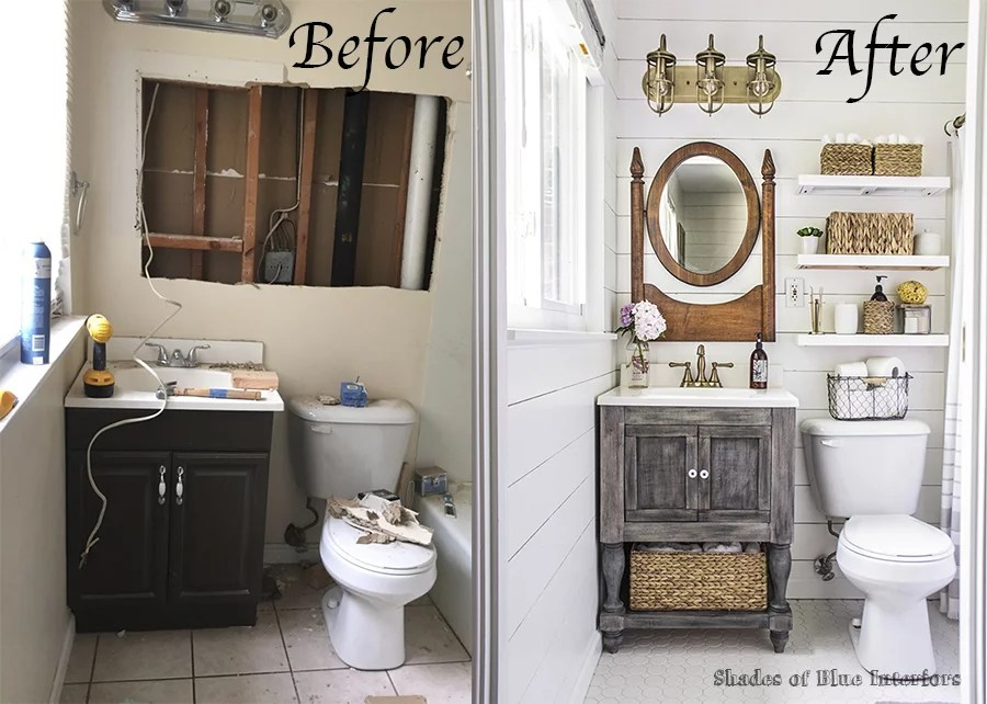 farmhouse bathroom makeover | popsugar home