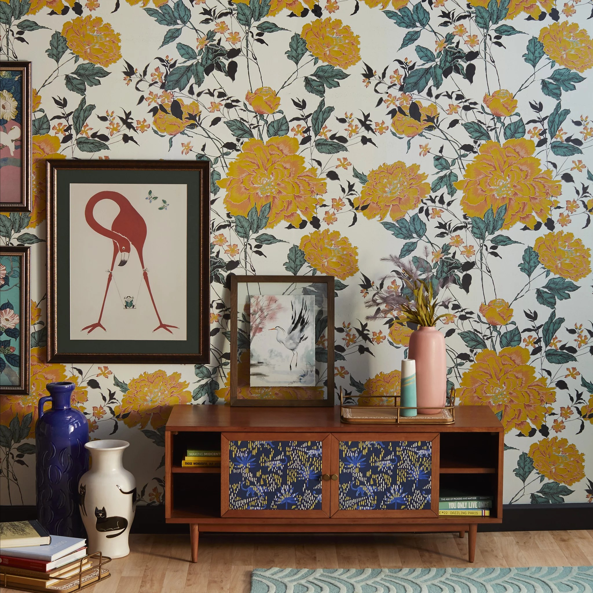 Yellow Vintage Floral Peel And Stick Wallpaper Drew Barrymore S Home Line Has New Peel And Stick Wallpaper And It S So Affordable Popsugar Home Photo 3