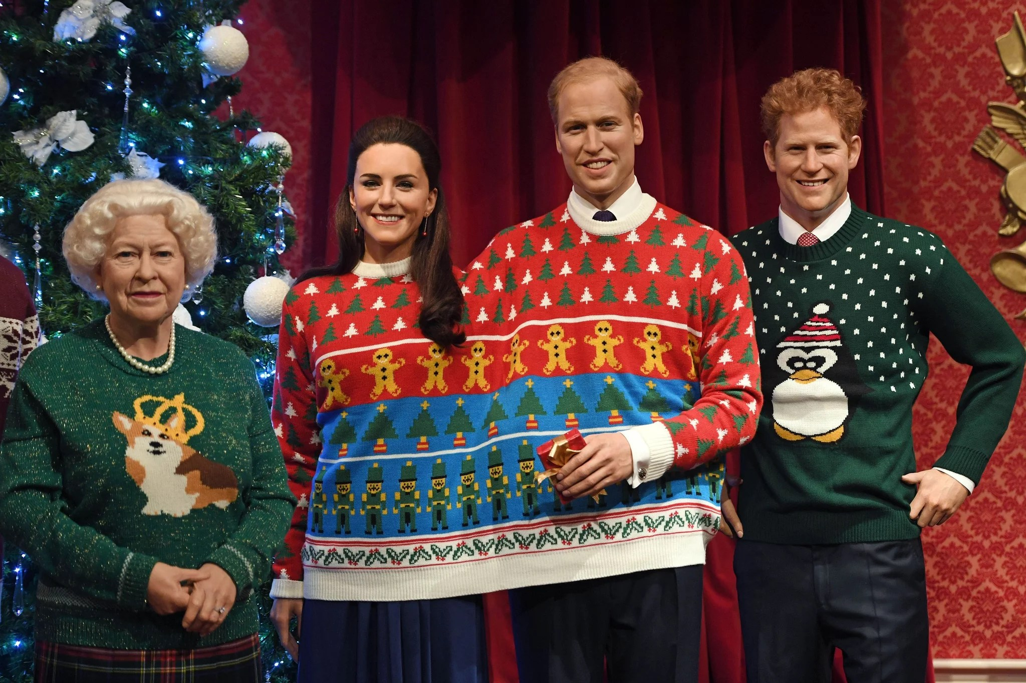 The Royals Wax Figures In Christmas Sweaters December 2016