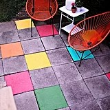 Paint Your Stone Patio Tiles With Pops of Color