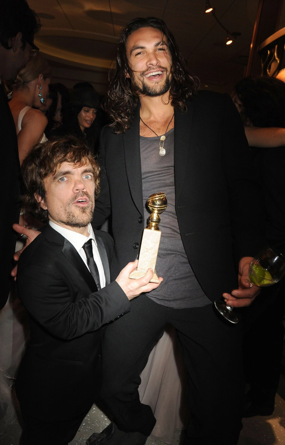 BEVERLY HILLS, CA - JANUARY 15:(EXCLUSIVE COVERAGE)   Actors Peter Dinklage and Jason Momoa attends HBO's Official After Party for the 69th Annual Golden Globe Awards held at The Beverly Hilton hotel on January 15, 2012 in Beverly Hills, California.  (Photo by Jeff Kravitz/FilmMagic)