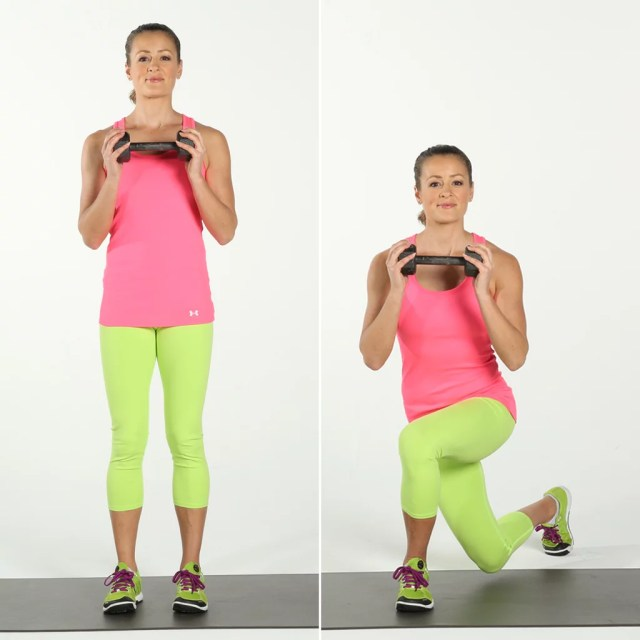Kết quả hình ảnh cho Alternating Reverse Curtsy Lunges With Dumbbells