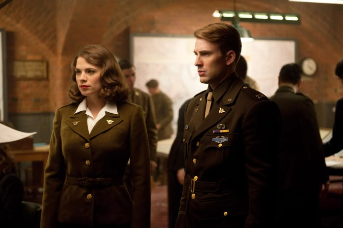 CAPTAIN AMERICA: THE FIRST AVENGER, from left: Hayley Atwell, Chris Evans, 2011, ph: Jay Maidment/Paramount Pictures/courtesy Everett Collection