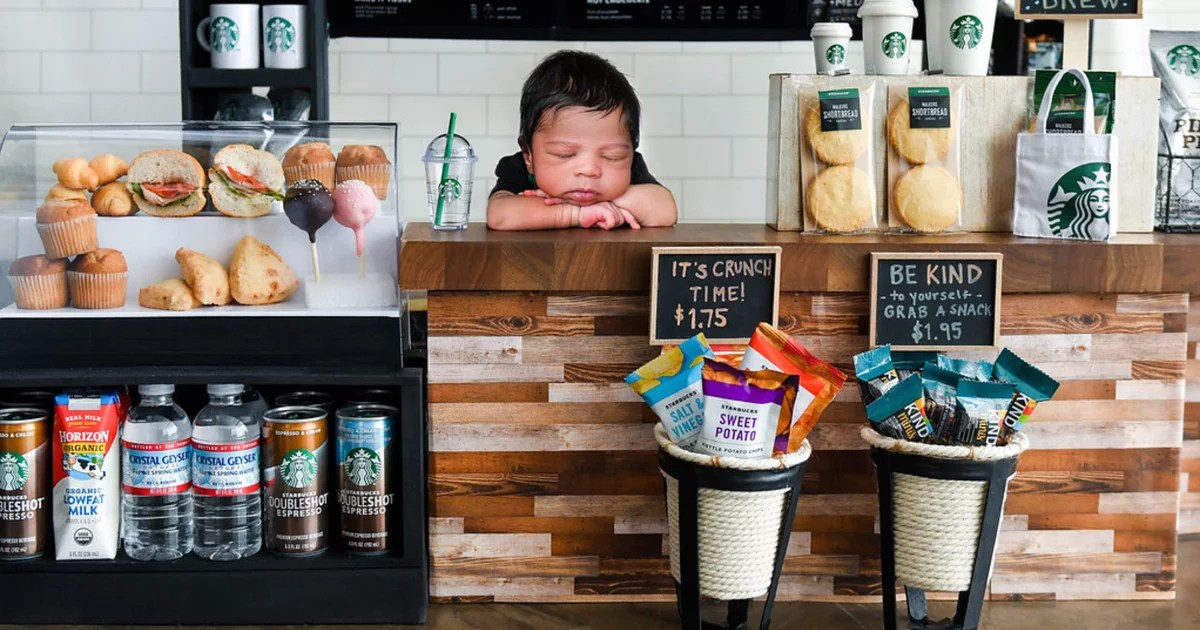 I Can't Get Over How Insanely Detailed This Starbucks Newborn Shoot Is; Just Look at the Chip Luggage!