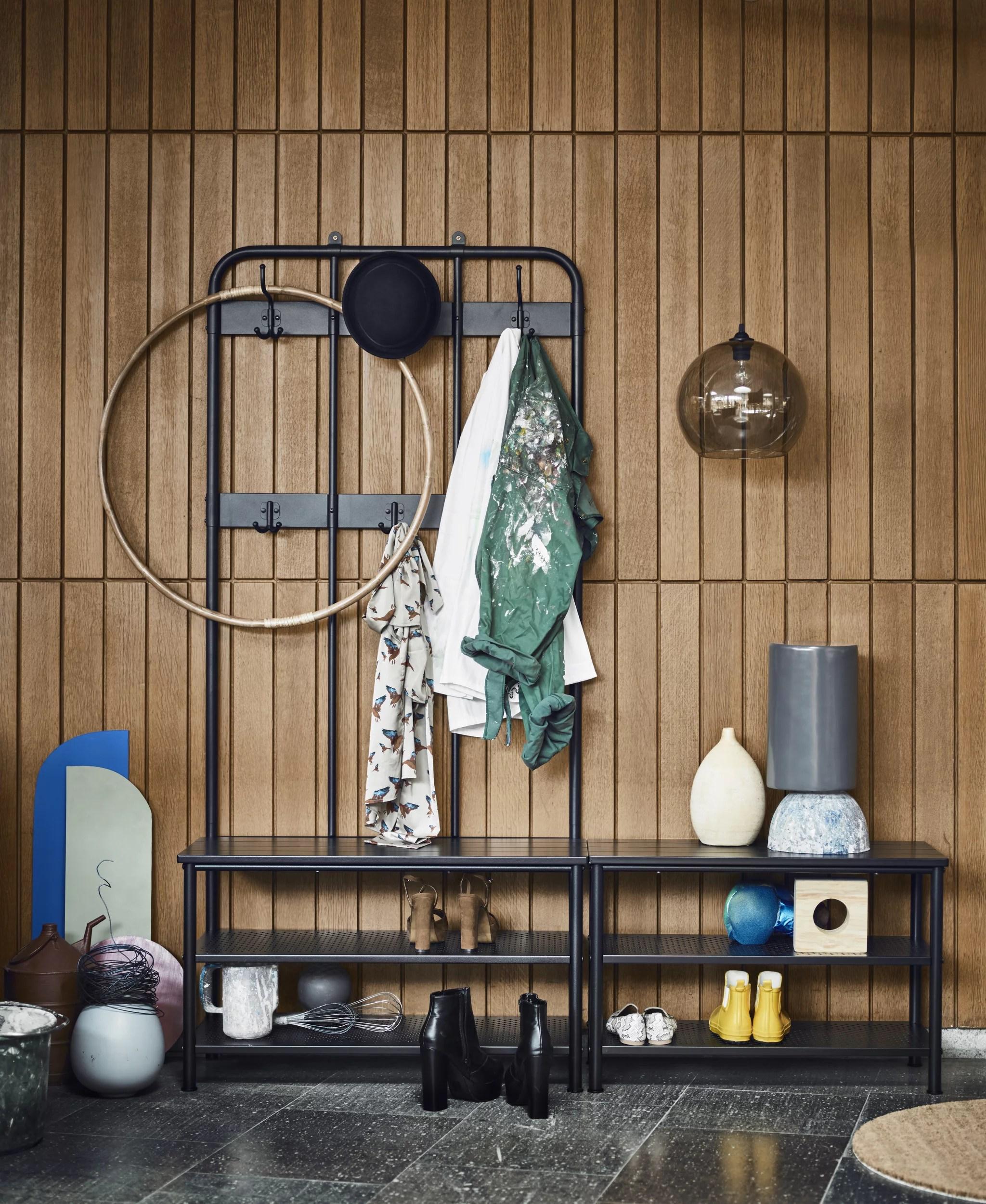 coat rack with shoe storage bench 90