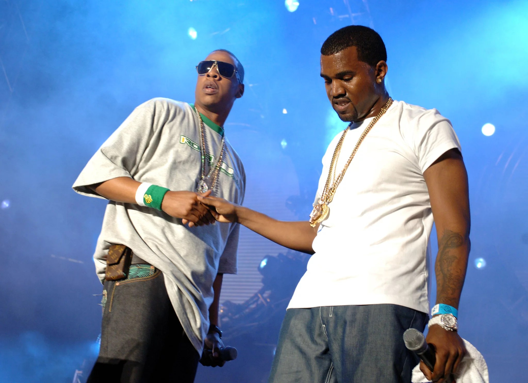 Jay-Z and Kanye West (Photo by Theo Wargo/WireImage for Hot 97)
