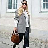 Fall Outfit Idea: Plaid Blazer + Furry Bag