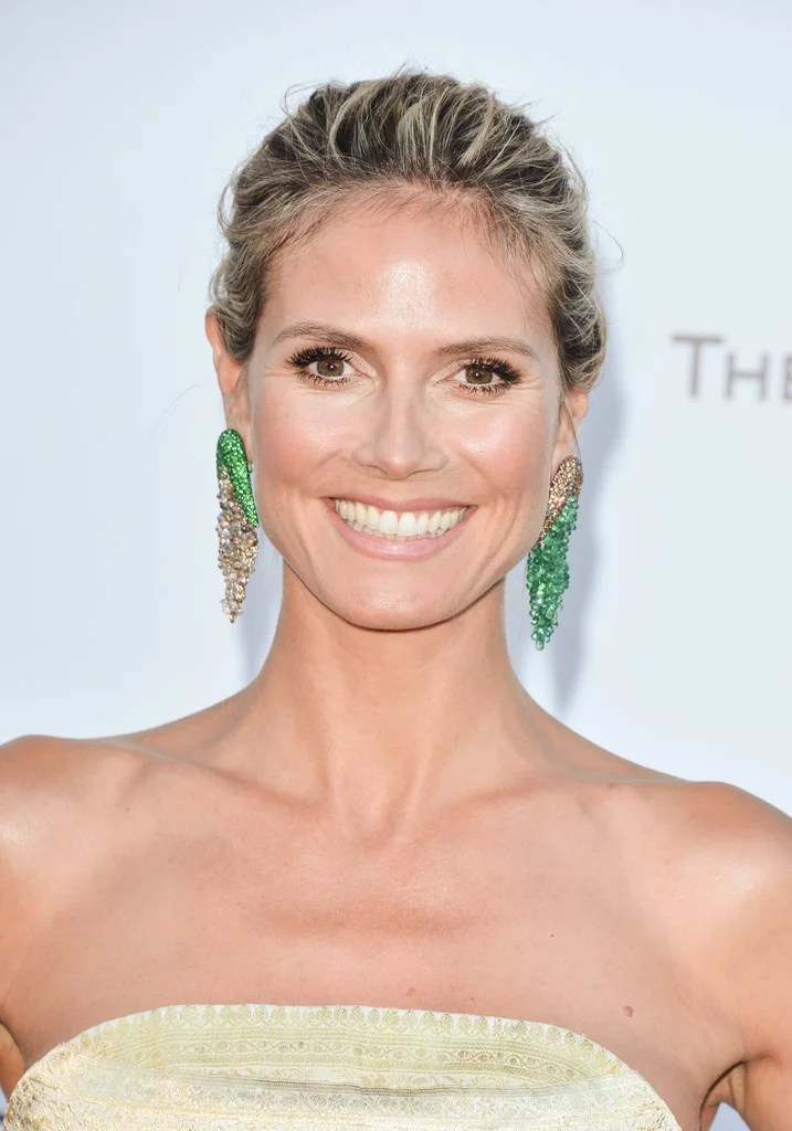 Heidi Klum Wore Her Hair Pulled Back Into An Updo And She