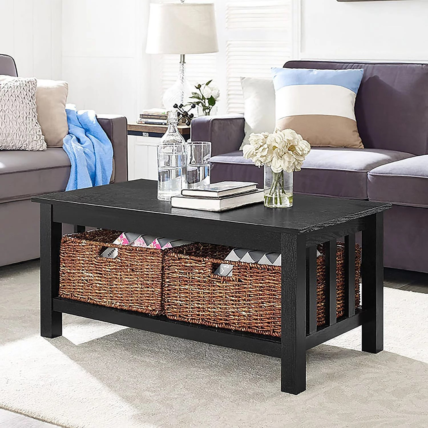 wood coffee table with storage baskets