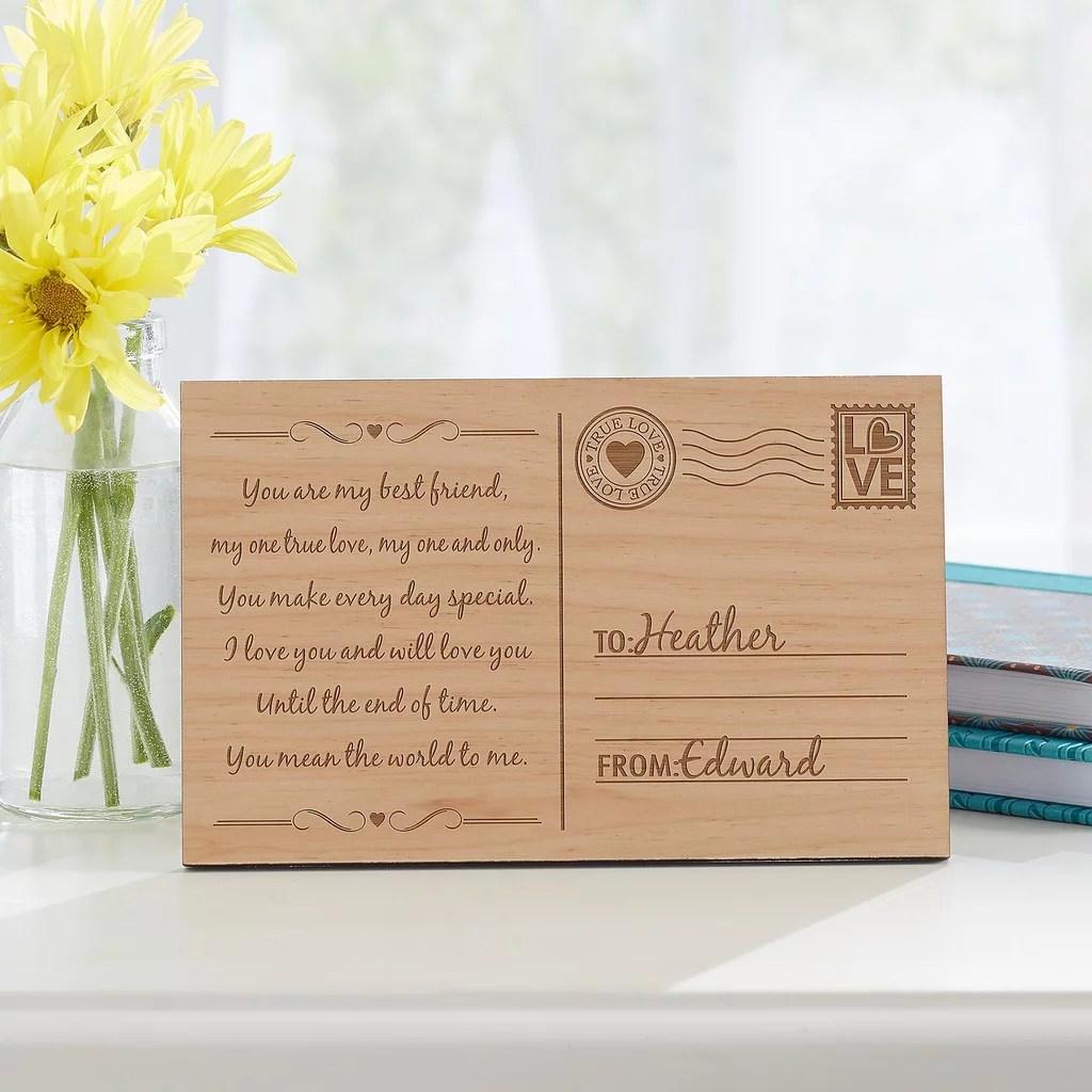 Sending My Love Wood Postcard 20 Personalized