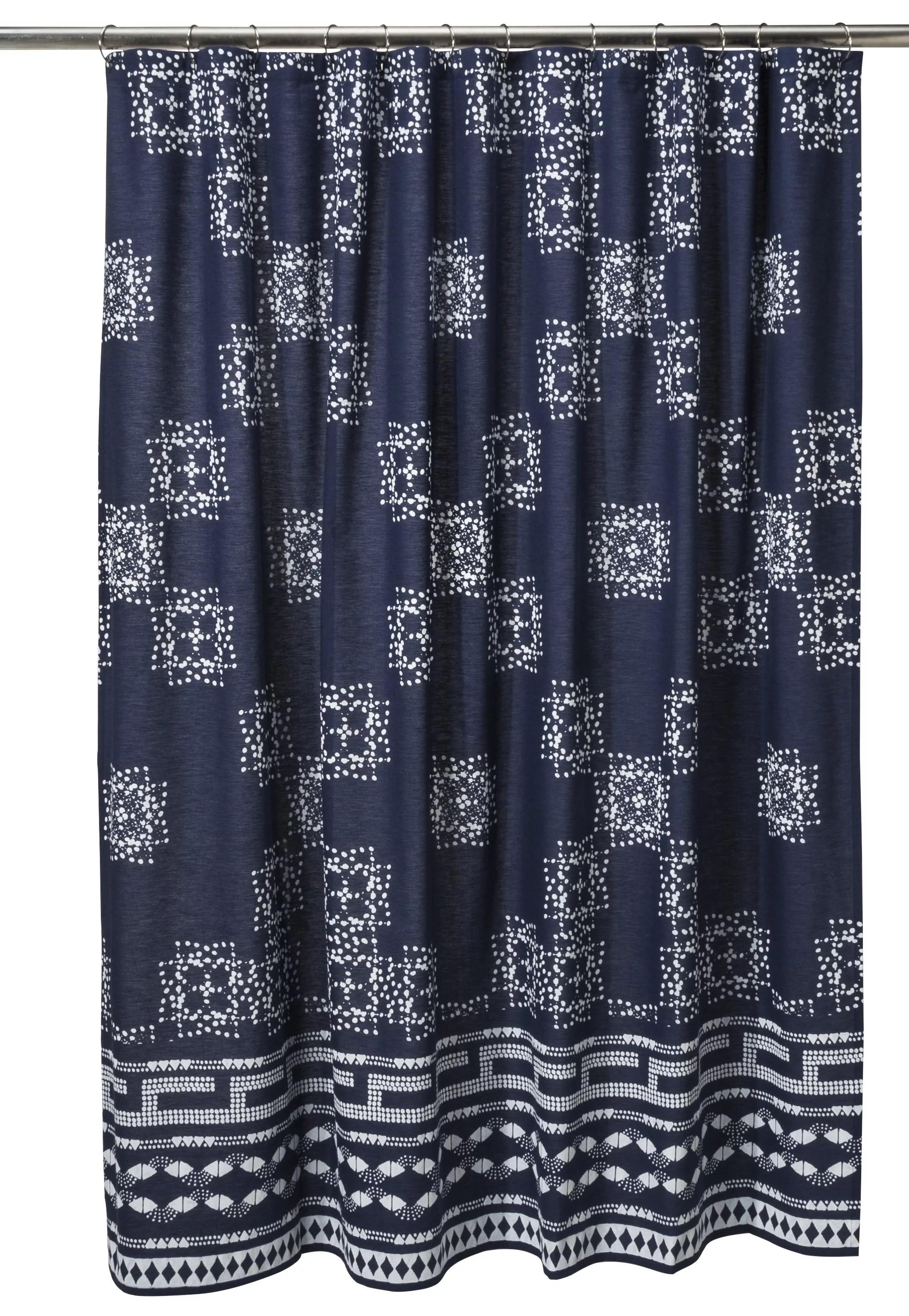 batik shower curtain in indigo 25