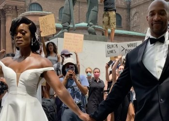 A Bride and Groom Showed Solidarity With Protesters by Marching on Their Wedding Day