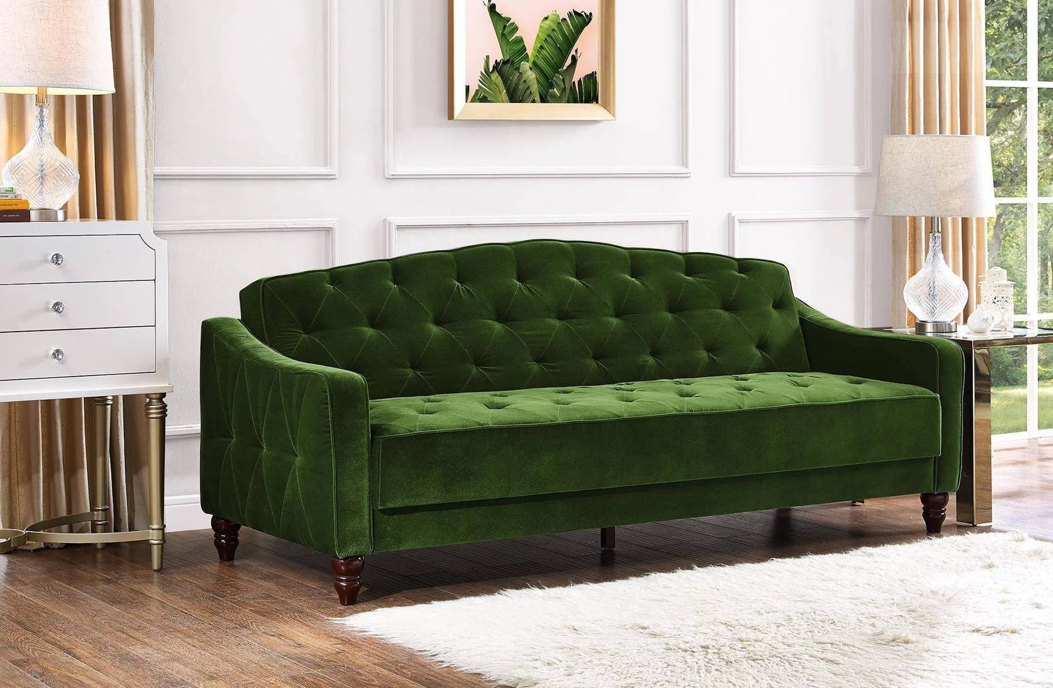 Novogratz Vintage Tufted Sofa Sleeper Review   POPSUGAR Home Every time a new person walks into my apartment  they ask me the same exact  question   OMG  where did you get your couch   It s a gorgeous green  velvet