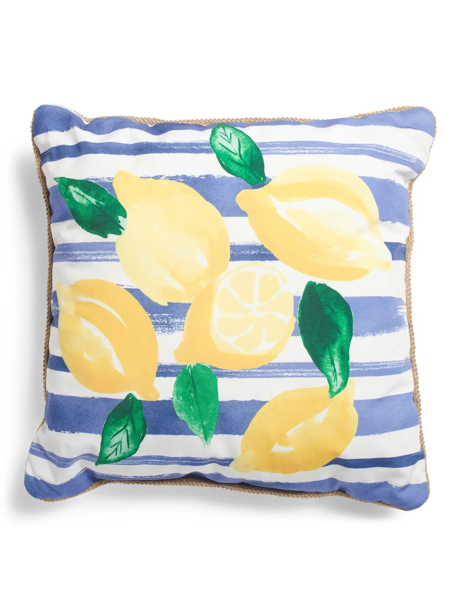 indoor outdoor lemon stripe pillow tj