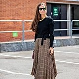 Fall Outfit Idea: Black Sweater + Plaid Skirt + Heels