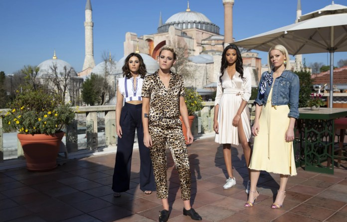 Kristen Stewart, Naomi Scott,  Ella Balinska and Elizabeth Banks star in Charlie's Angels.