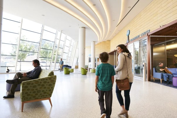 The lobby of the new building is bright and welcoming to children and parents.