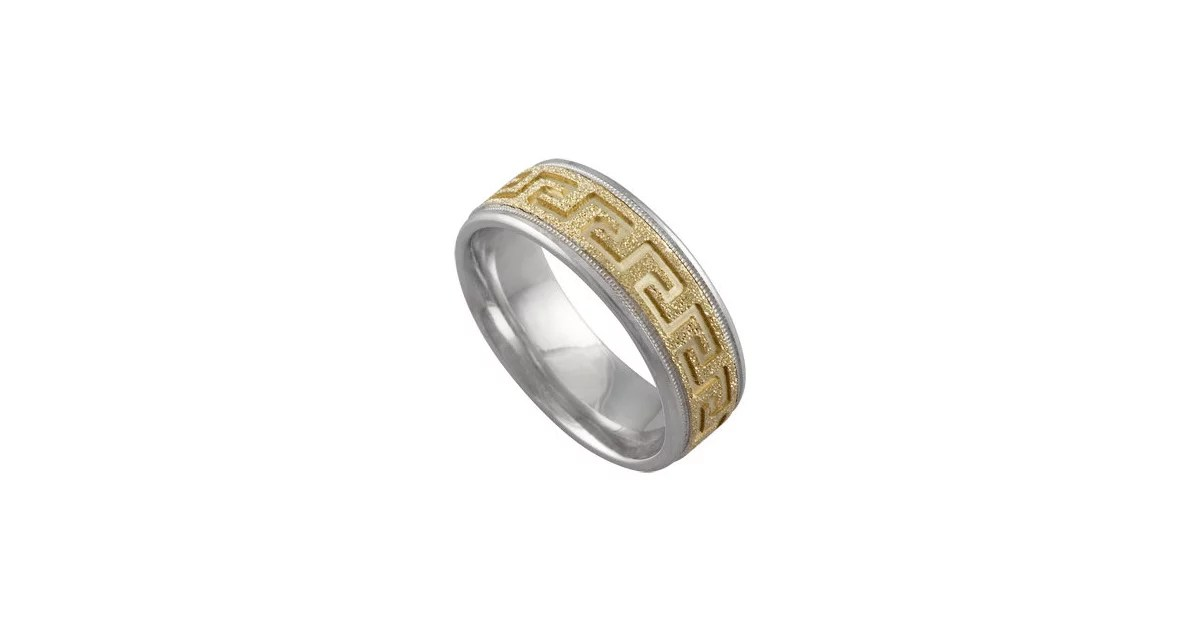 Greek Key Wedding Band 575 Unique Engagement Rings