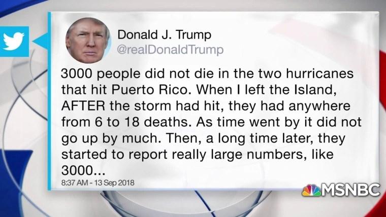 Trump tweets '3,000 people did not die' in Puerto Rico Hurricane
