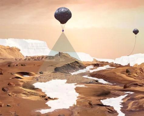 Balloon over Mars Ice