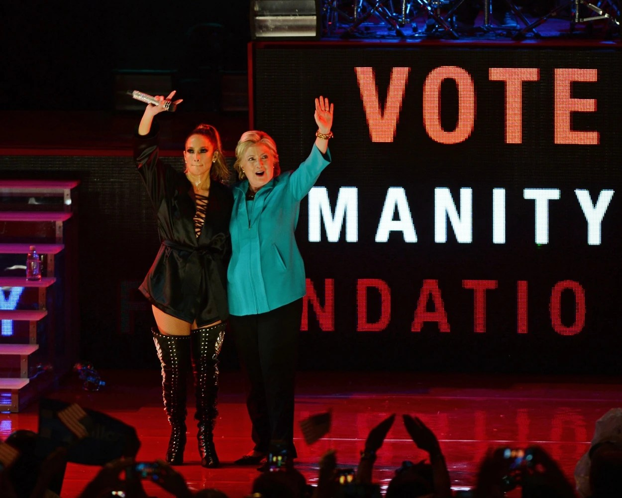 Image result for images of Clinton and Jennifer Lopez on Oct. 29, 2016