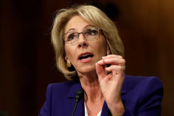 Image: Betsy DeVos testifies before the Senate Health, Education and Labor Committee confirmation hearing