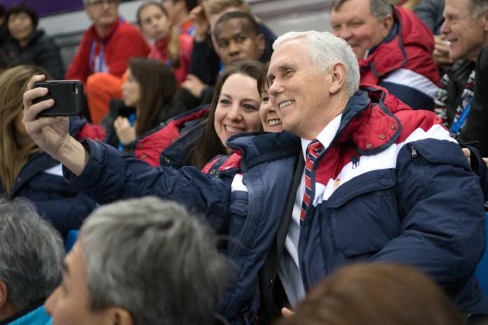 Image: Sarah Hughes, Karen Pence, Vice President Mike Pence