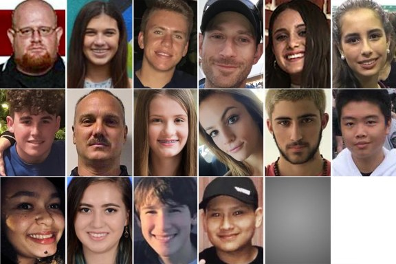 Image: 16 of the 17 fatal victims of the Parkland school shooting.