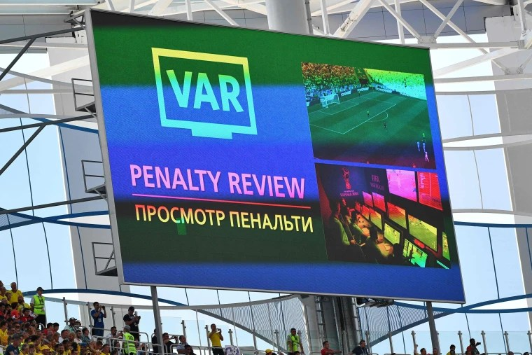 Image: The screen signals a VAR review during the Russia 2018 World Cup Group F football