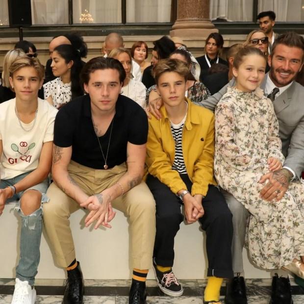 David Beckham and his kids at London Fashion Week 2019