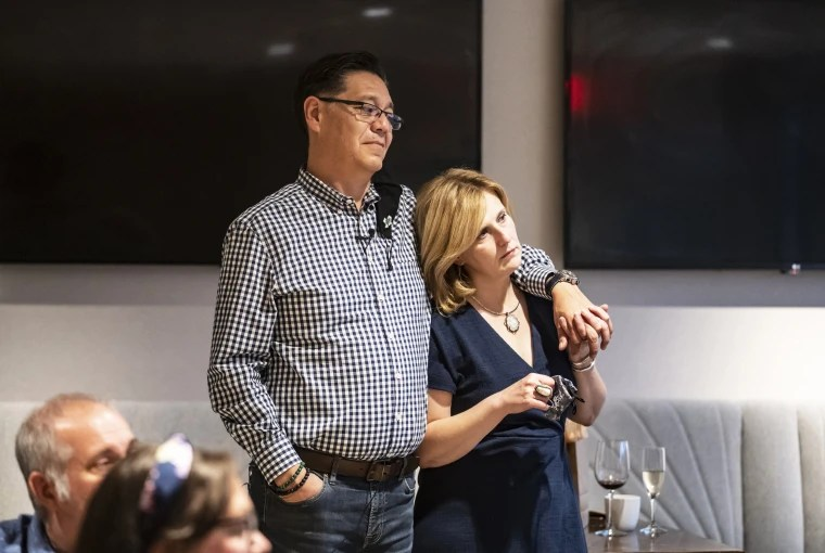 School board candidate Ed Hernandez and his wife Jennifer attend an election party after voting in municipal elections in Southlake, Texas, on May 1, 2021.