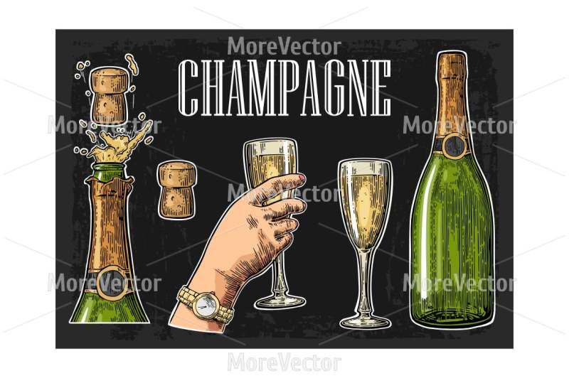 Download Dark Glass Champagne Bottle Mockup Front View Yellow Images
