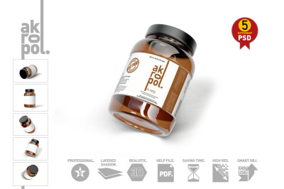 Download Clear Glass Honey Jar In Paperboard Sleeve Mockup Yellowimages