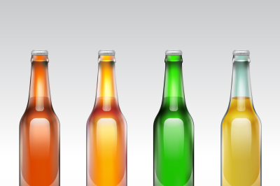 Download Amber Glass Bottle With Brown Ale Mockup Yellow Images