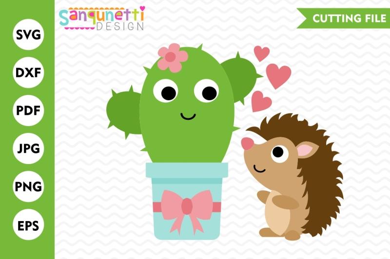 Download Cactus and Hedgehog SVG, Love SVG, Valentine SVG, Cactus ...