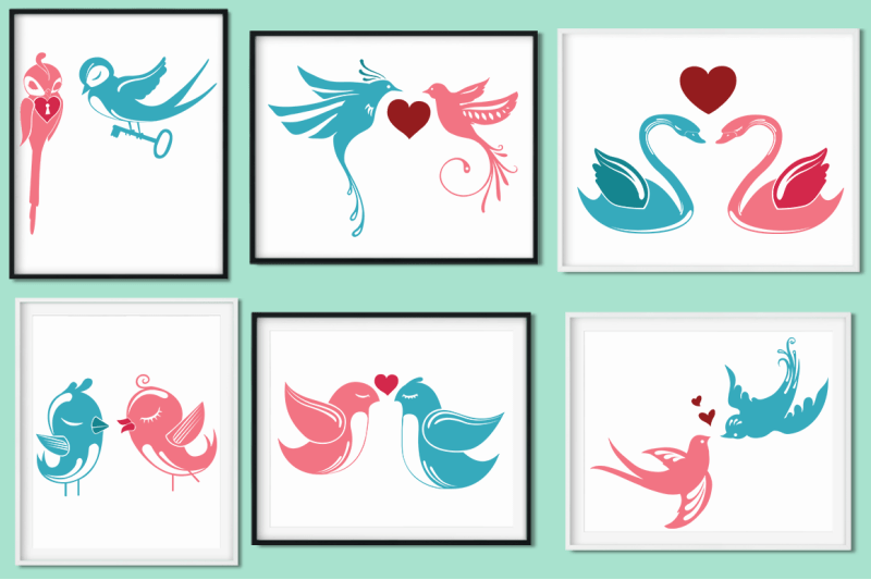 Download Love Birds SVG Cut Files Pack By Anastasia Feya Fonts ...