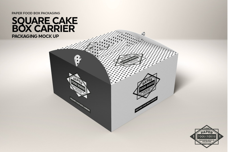 Download Square Cake Box Carrier Packaging MockUp By INC Design ...