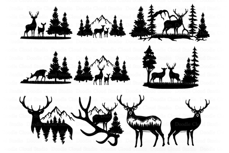 Download Deer Bundle SVG, Deer and Mountains SVG Files for ...