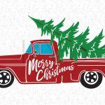 Christmas Red Truck Svg Christmas Tree Truck Svg Files By Kyo Digital Studio Thehungryjpeg Com