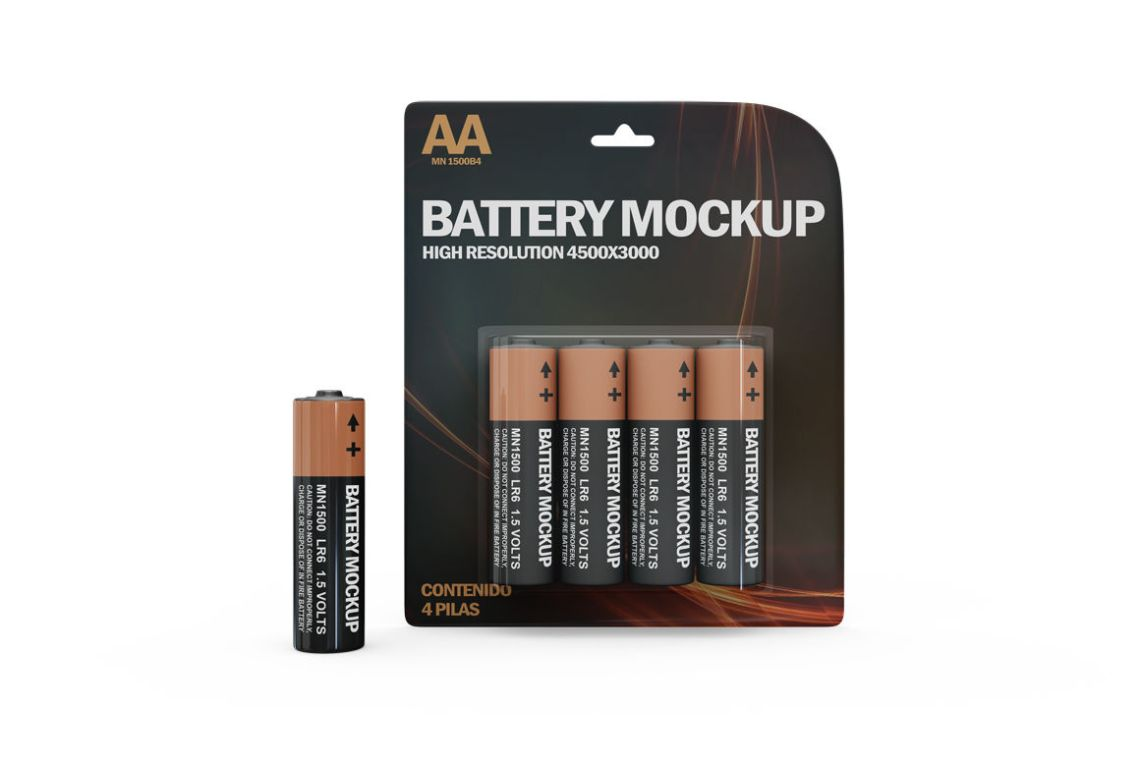 Download 4 Pack Metal Battery Aa Mockup Front View Yellow Images