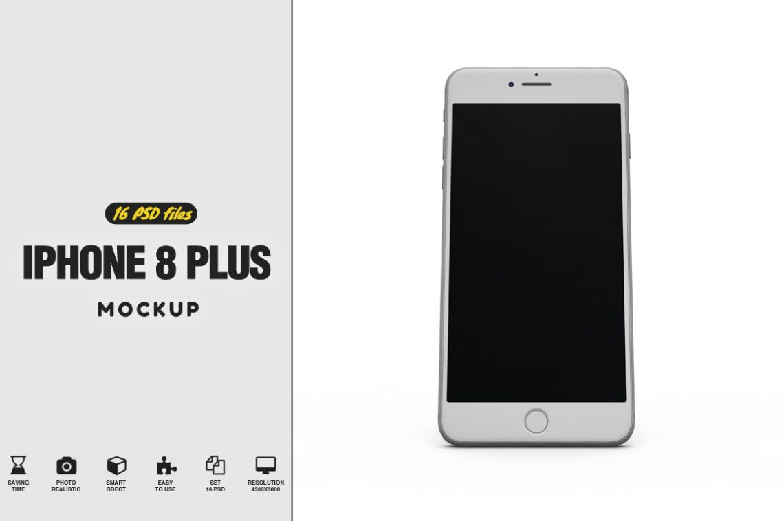 Download White Iphone 8 Mockup Psd Yellow Images