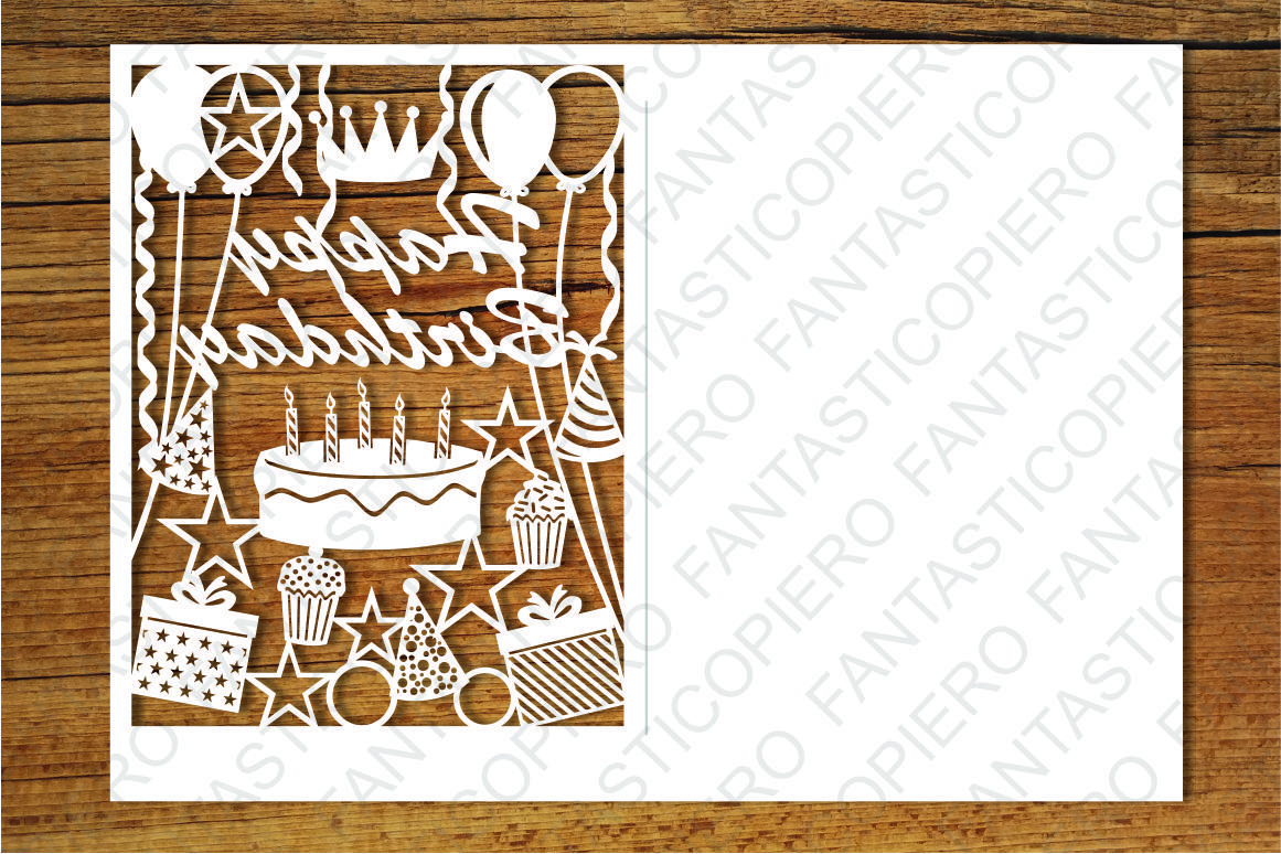 Happy Birthday Card Svg Files For Silhouette Cameo And Cricut By Pierographicsdesign Thehungryjpeg Com