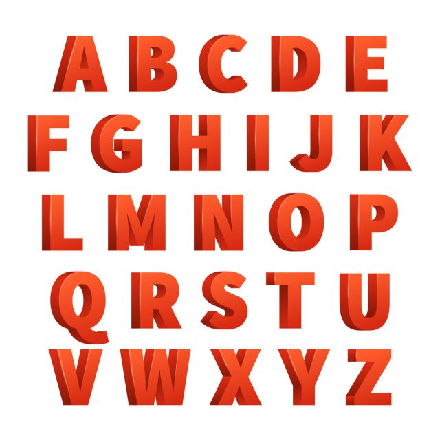Red Letters Vector Alphabet