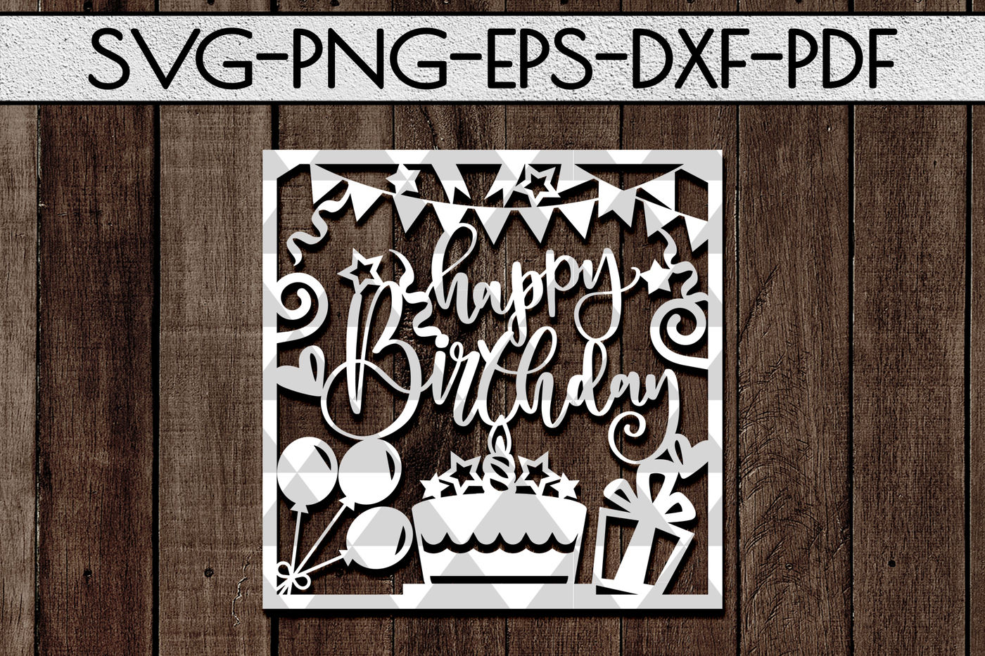 Happy Birthday Svg Cutting File Birthday Card Papercut Dxf Pdf By Mulia Designs Thehungryjpeg Com