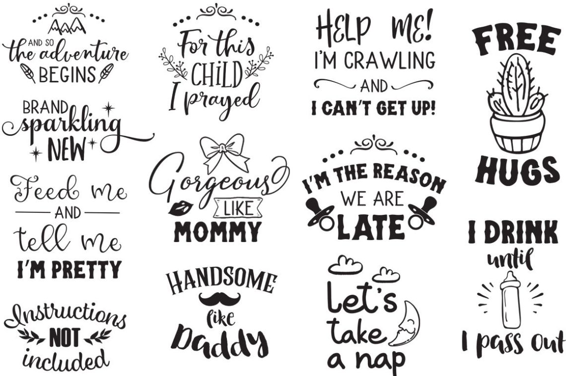 Download Newborn SVG Pack - 32 Cut Files for Baby Onesies - Limited ...