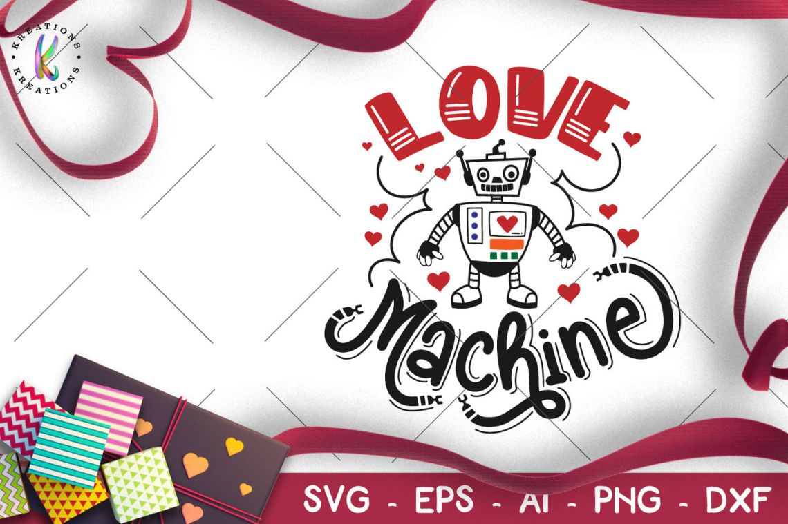 Download Love Machine svg Valentine's Day svg Robot Cyborg By ...