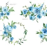 Blue Watercolor Flowers And Green Leaves By Watercolorflowers Thehungryjpeg Com
