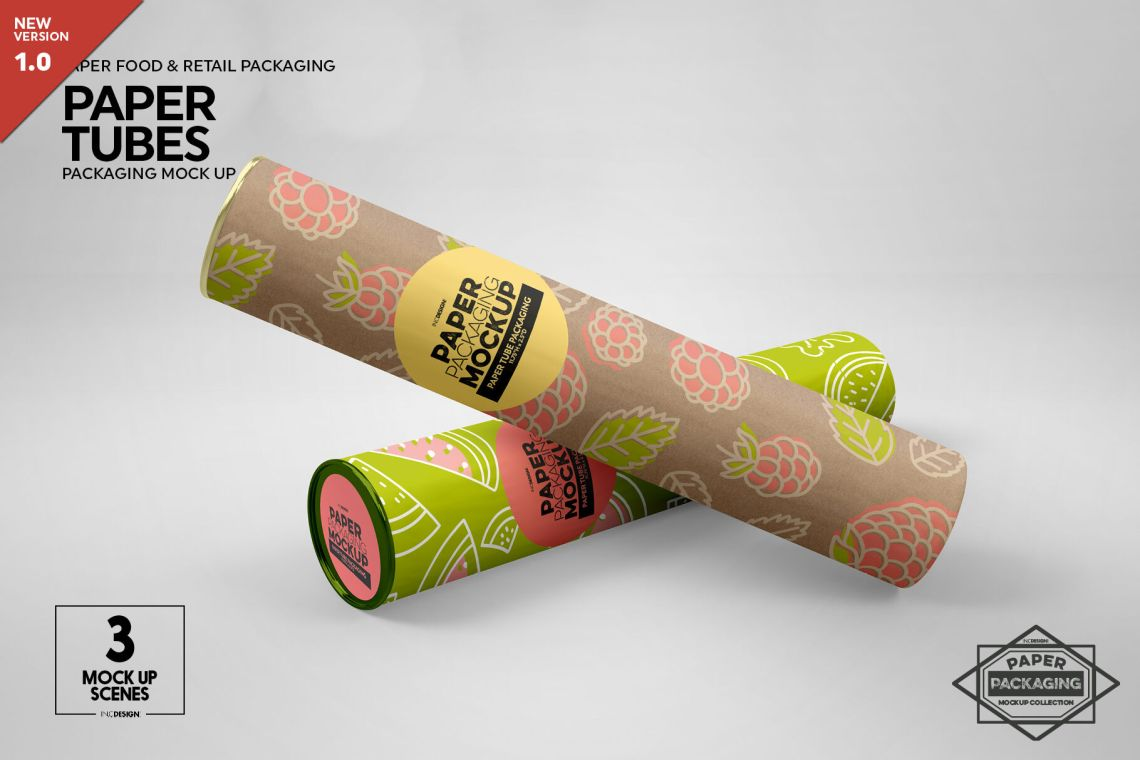 Download Kraft Paper Tube With Lid Mockup Yellow Images