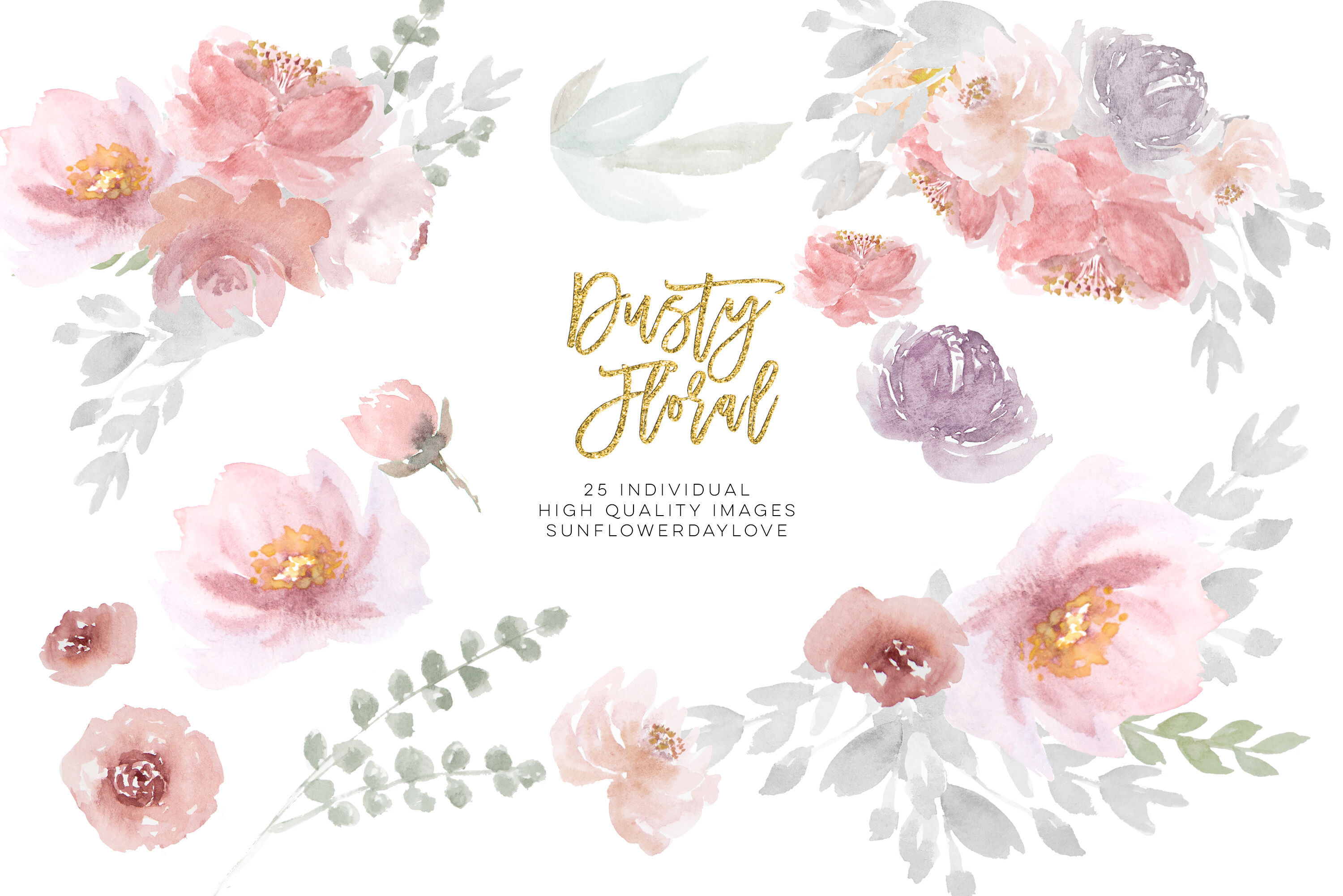 dusty rose floral clipart wedding